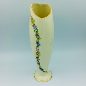 Lenox Heart Shaped Floral Gold Trim Bud Vase 1997